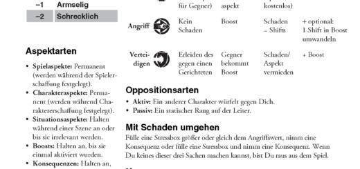 Fate Core Cheat Sheet, erweitert und auf Deutsch 1