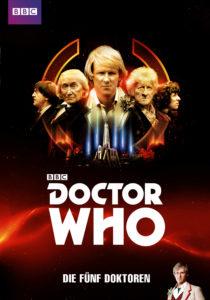 """Das Cover von """"Doctor Who: Die Fünf Doktoren"""" muss natürlich dem Titel entsprechend alle fünf Doktoren zeigen, wobei eigentlich nur vier mitspielen."""