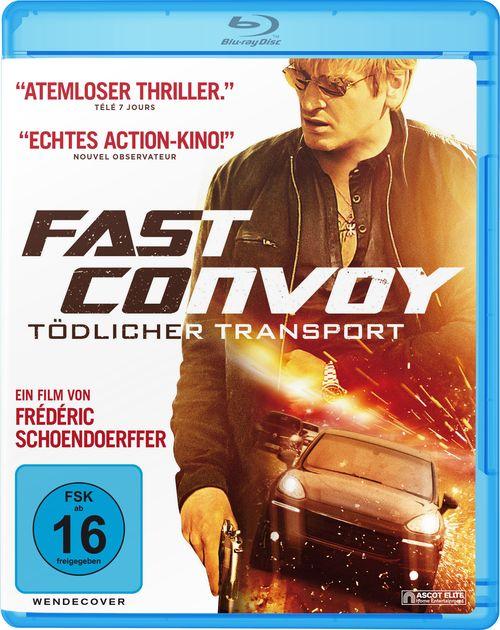 """Selbst das Blu-Ray-Cover von """"Fast Convoy – Tödlicher Transport"""" bedient das typische coole Silhoutte mit Foto-Overlay-Motiv (Ascot Elite)"""