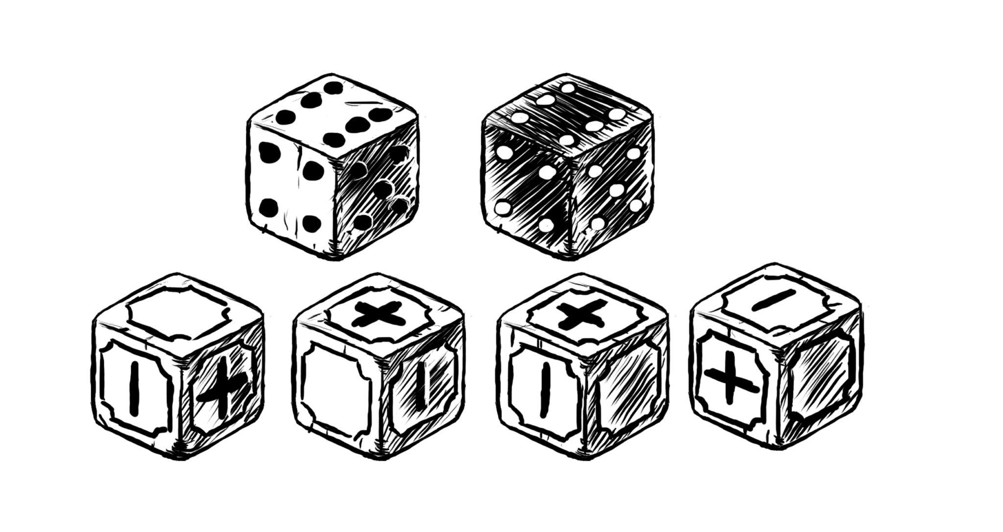 Entweder spielt man mit Fate-Würfeln, oder mit 2W6, von denen man einen vom anderen abzieht